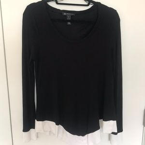 INC Black Sweater with White Trim